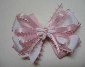 Spring Daisy Pink and White Hair Bow Layered Boutique