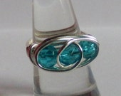 Turquoise Glass Beaded Wire Ring