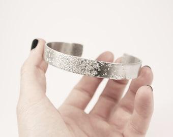Handmade Half Hammered Half Smooth Aluminium Cuff Bracelet