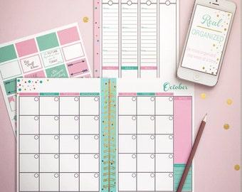 Undated Planner, Weekly Planner, Printable Calendar, Planner, Agenda, Pink