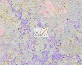 Fergie Tie-Dye Metallic Cording Lace Fabric - PURPLE EXPLOSION - Sold By The Yard Clothing