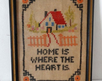 """Small Framed Cross Stitch Sampler - """"Home Is Where The Heart Is""""  TF"""