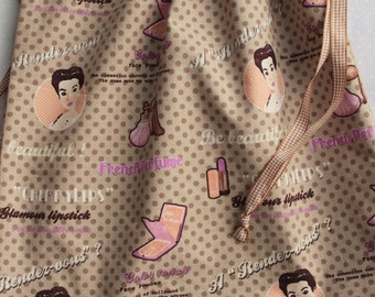 Retro light brown drawstring bag