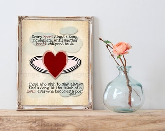 At the touch of a lover everyone becomes a poet ~Plato  (25AOWD) Heart Wings Plato Quote Art Print Typography Art Love Romance Gift