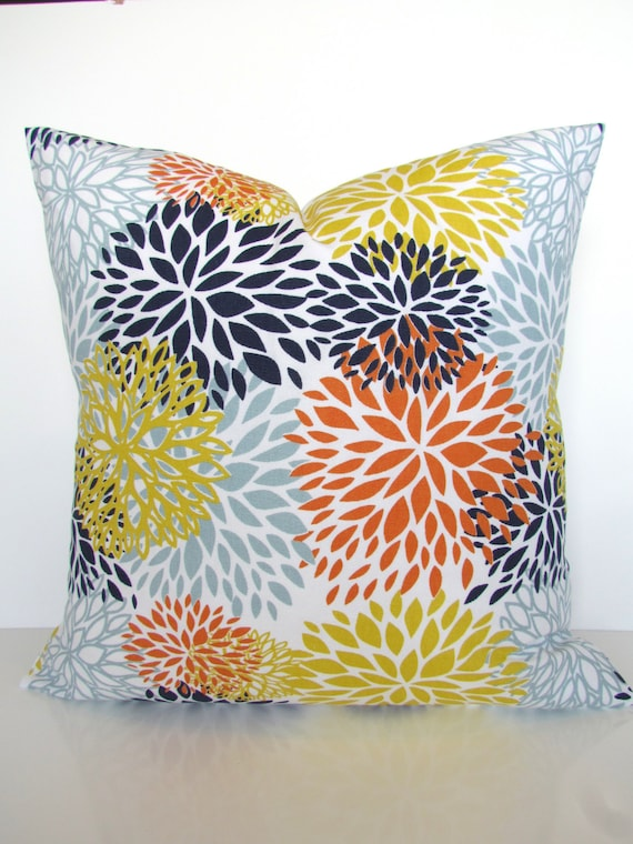 Decorative Pillows Blue And Orange : ORANGE PILLOW Cover Blue Pillows Blue Decorative Throw Pillows