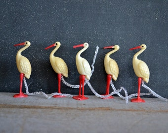 Set of Five Plastic Stork Favors | Vintage Baby Shower Decorations | Vintage Plastic Toy | Celluloid Toy | Stork Figure | Bird Collection
