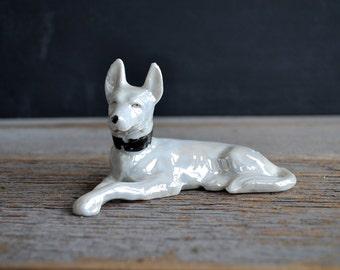 Vintage Lusterware Porcelain Dog ~  White German Shepherd Dog Figurine ~ Made in Japan ~ Dog Collectible