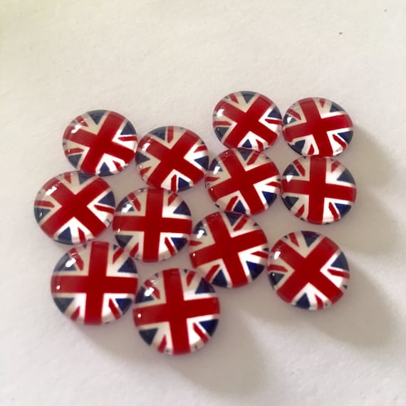 Laser Cut Supplies- 6 Pieces. 12mm England Flag glass Charms - Laser Cut Acrylic - Jewelry Supplies-Little Laser Lab.Online Laser Cutting