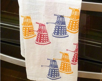 Attack of the Daleks Doctor Who Hand Printed Tea Towel