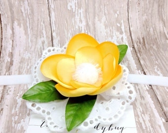 Yellow and White Satin Flower Headband or Hair Clip, M2M Made to Match Well Dressed Wolf Yellow Dandy Dress and Bubble
