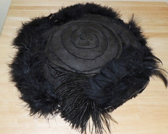 Victorian Era Black Mourning Hat with Silk Flowers and Feathers