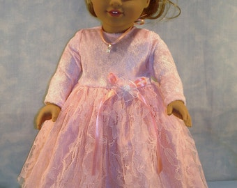 18 Inch Doll Clothes Peach Panne Velour and Lace Formal Gown and Sandals handmade by Jane Ellen to fit 18 inch dolls