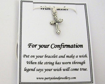FOR YOUR CONFIRMATION White Cross Friendship Wish Bracelet with Wish Message Card