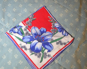 Vintage Hankie with Red Center and Blue Iris