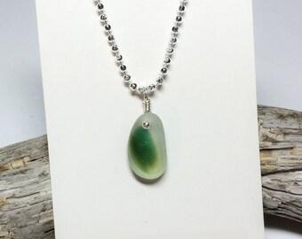 "Sea Glass Pendant, English Sea Glass, Green English Multi, Sea Glass Jewelry, English Multi ""Bright"", Sterling Silver, Seaham Beach"