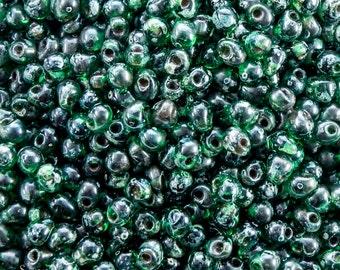 Transparent Green Picasso Miyuki Drop Beads - 3.4mm Green Picasso Miyuki Drop Beads - 15 Grams