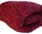 Heavy Weight Checkerboard Knitted Throw in Cranberry Red or Color of Your Choice