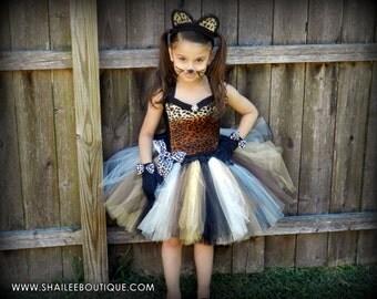 Halloween costume kid,Cheetah costume 3pc set,leopard tutu dress,1st birthday tutu,party tutu dress ,kitty Halloween costume toddler costume
