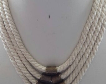 Multistrand Natural Beige Twisted Rope Necklace with Antique Brass Tube Beads