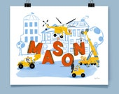 Personalized Construction Site Art Print Boy's Name Construction Vehicles With Letters Toddler Young Child Room Wall Decor