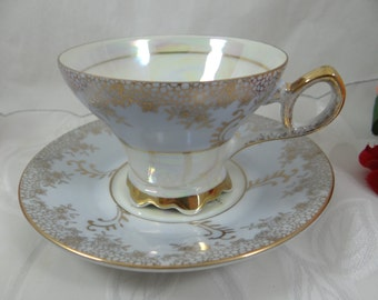 1930s Vintage Blue Lusterware Iridescent Footed Teacup and Saucer Japanese Tea Cup