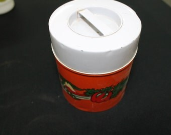pair orange metal kitchen canisters