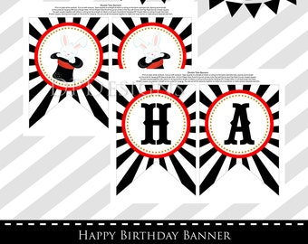 Magic Party Birthday Banner, Magician Party, INSTANT DOWNLOAD
