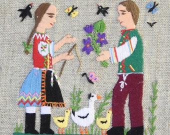 Framed Folk Embrodiery Art ~  Vintage Wall Hanging, Boy & Girl European Folk Costume, Fabric Mat Frame / Rustic Country Cottage  Decor