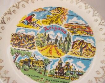 Collectible Arizona plate, souvenir of Arizona, Grand Canyon, Sahuaro forest, Painted Dessert, mid century, 1950s, 60s