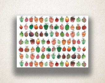 Artistic Apples Canvas Art Print, Apple Pattern Wall Art, Food Canvas Print, Close Up Wall Art, Canvas Art, Canvas Print, Home Art, Wall Art