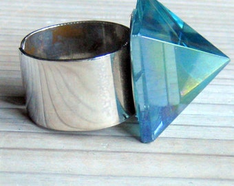 Aqua Aura, Crystal Quartz, Pyramid Ring, Sterling Silver Ring, Adjustable Ring, Bohemian Jewelry