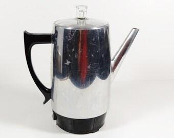 Vintage Westmark Chrome Coffee Percolator, Midcentury Coffee Maker - 9 C West Bend