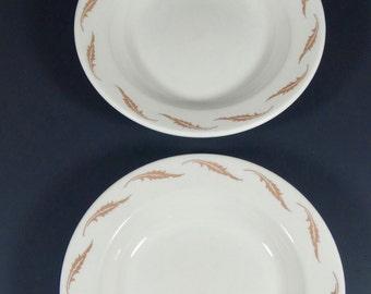 Homer Laughlin Restaurantware - Soup Bowls - Set of 2 - Tan Leaves - Midcentury Restaurant China - Best China