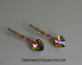 Undecided hearts swarovski earrings / jewelry / handmade / etsy / earrings / gold / crystal / gifts for women / female artist / wire wrapped