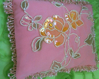"""Shabby Chic BEADED BOUDOIR PILLOW, 9.5"""" x 7"""" Yellow Sequin and Pearl Flowers on Pink, Beaded Fringe -- Free Shipping"""