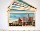 7 vintage ILLINOIS postcards - unused lot - linen, white border, chrome 3 1/2 x 5 1/2