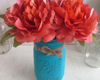 Cottage Chic Peach Orange Peony Flower Pens with Mason Jar Vase