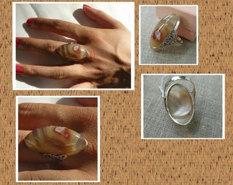 Laguna Lace Agate - Sterling Silver - Handcrafted - Ring - size 8.5