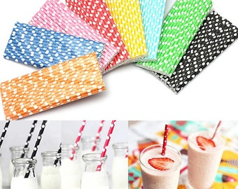 Paper Drinking Straws Polka Dot Biodegradable Drinking Straw Wedding Party  B987090