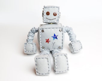 Red, White & Blue Stars Plush Felt Robot