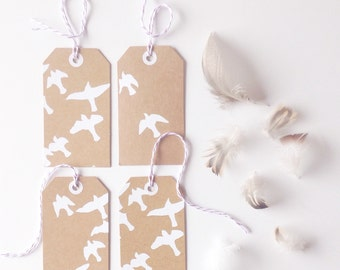 Hand printed luggage tags // kraft gift tags // original screen print // birds brown white UK seller