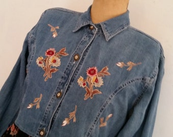 1980's Dress Vintage Denim Boho Embroidered Dress 80's Blue Jean Urban Hipster Midi Dress Indie Day Dress Bohemian Day Dress Size M