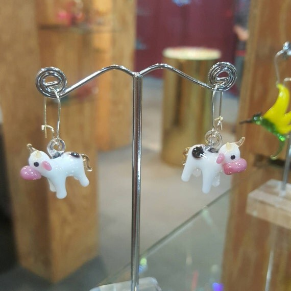 Glass Cow Earrings