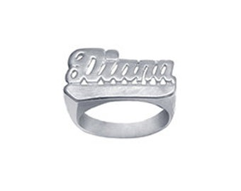 Name Ring Sterling Silver Personalized Name Ring with Name of Your Choice Size 5 thru 10 Made in USA