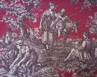 Toile fabric/Romantic toile fabric/Burgundy and brown toile fabric/Waverly fabric/Wall art fabric/Quilt fabric/Cushion fabric/Pillow fabric