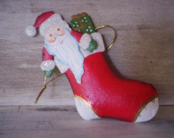 Keepsake ornament/Santa ornament/Vintage Santa metal Ornament/Santa in a stocking metal Christmas ornament/Santa, gift, stocking metal decor