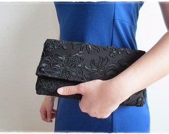 Black lace clutch purse, black clutch purse, evening purse, party purse, wedding gift bridal bridesmaids black purse