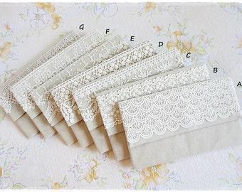 Bridesmaids large envelope clutch white lace purse natural linen blend wedding bridal clutch evening purse
