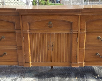 Ready to finish, painting included midcentury neoclassical dresser