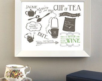 Just My Cup Of Tea Friendship Print / Gift for Friend / Birthday Gift / Christmas Gift / Cup of Tea Gift / Tea Lover / Gift for Tea Lover